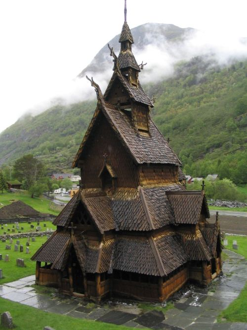 The Borgund Stave Church, Norway. Built sometime between 1180 and 1250.  If Hobbits went to church it might look like this.