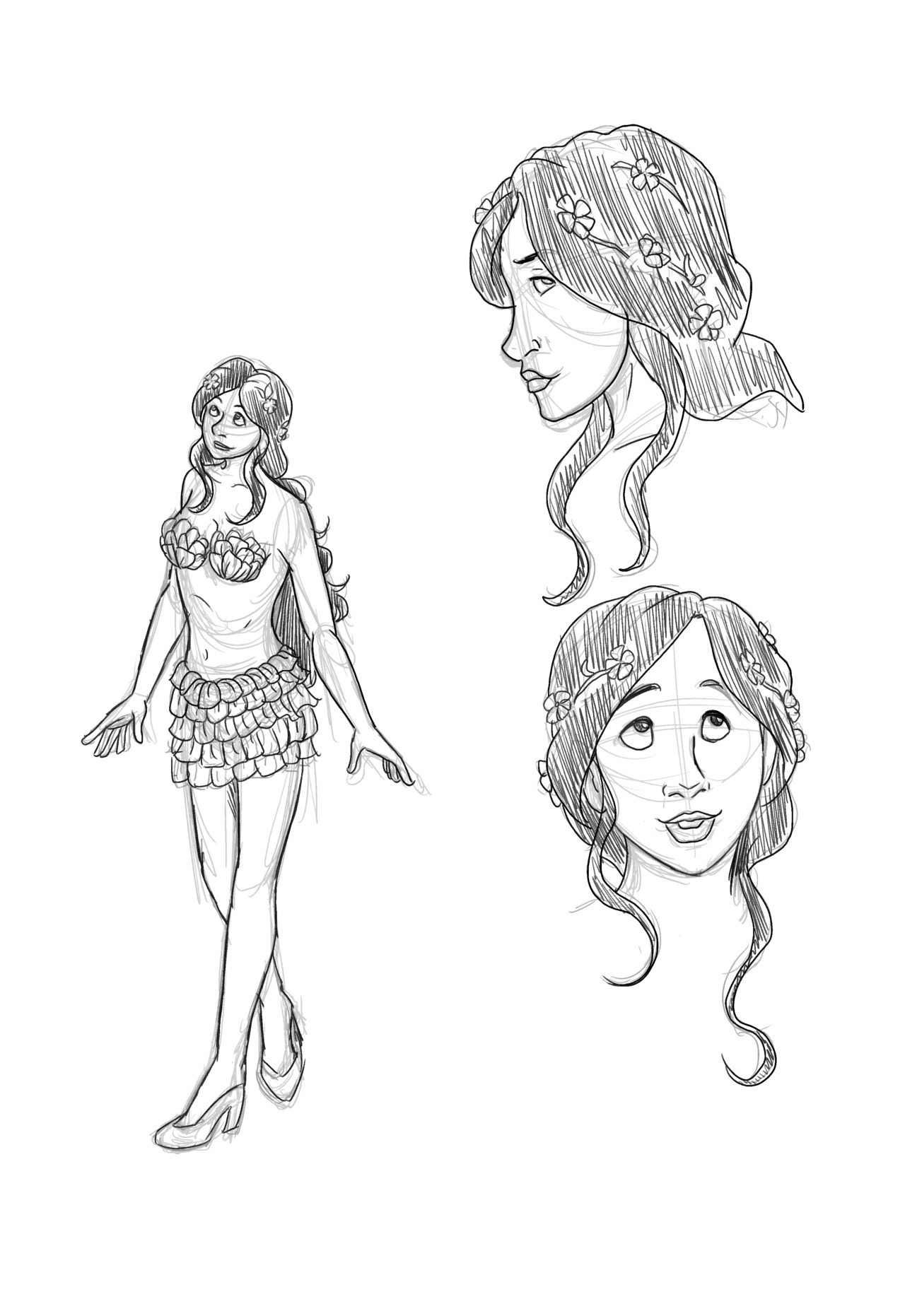 kelmcdonald:  Today I drew Justine for my Dresden character of the day. She is described as attractive and sweet looking. She like her date Thomas has used the costume party as an excuse to be mostly naked. So her outfit is a short skirt made of flower peddles and she has flower peddles covering her breasts. However, it doesn't say if those peddles are attached making like a tube top, so I assumed they were just pasties.
