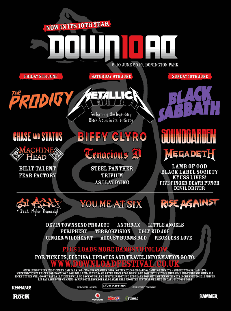 14 new bands have been added to Download Festival 2012 line up »> AS I LAY DYING SLASH MEGADEATH RISE AGAINST STEEL PANTHER RECKLESS LOVE BLACK LABEL SOCIETY KYUSS LIVES! FIVE FINGER DEATH PUNCH FEAR FACTORY PERIPHERY BILLY TALENT TERRORVISION GINGER WILDHEART