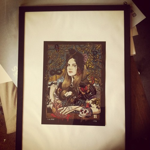 Lana Del Rey print framed for exhibition #lanadelrey #borntodie #poster #gicleeprint #numbered #music (Taken with Instagram at The Village)