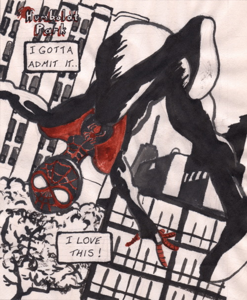 First Spider-Man drawing, age 39 1/2.. Ink, newsprint.. Originally submitted to Challengers Assemble!