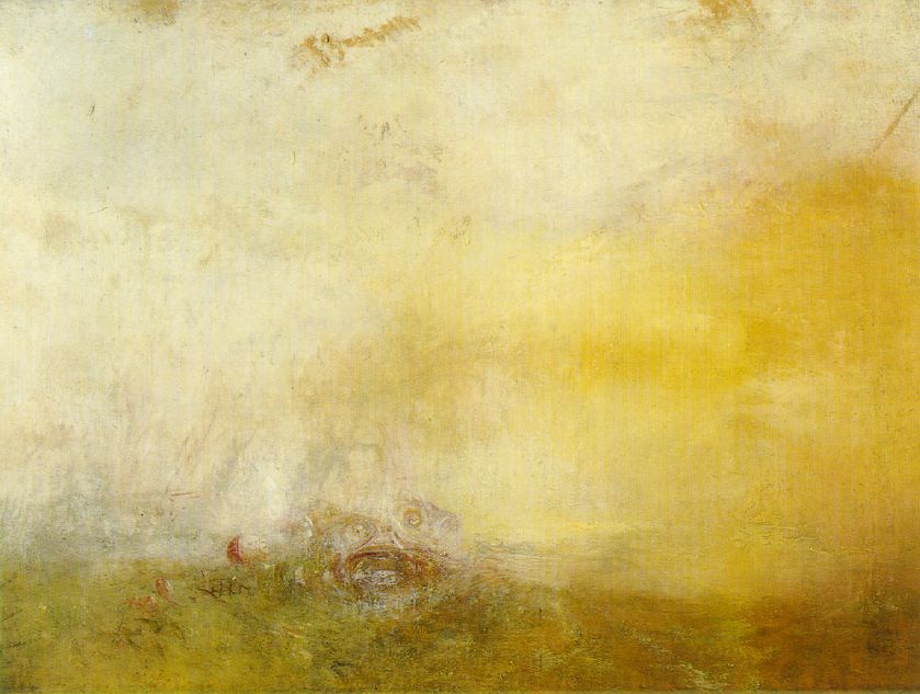 fckyeaharthistory:  J. M. W. Turner - Sunrise with Sea Monster, 1845. Oil on canvas  From the Tate Gallery, London: Although this unfinished painting has come to be known as Sunrise with Sea Monsters, the obscure pink shape at the lower centre of the canvas probably depicts fish; indeed a red and white float and part of a net can be seen nearby. Commentators have related the picture to Turner's whaling scenes, and other paintings with fish in the foreground from the 1840s. But the subject of fishing was of interest to Turner throughout his career, as were remarkable sunsets and sunrises such as the dawn depicted here.   (More on this work from the Tate)
