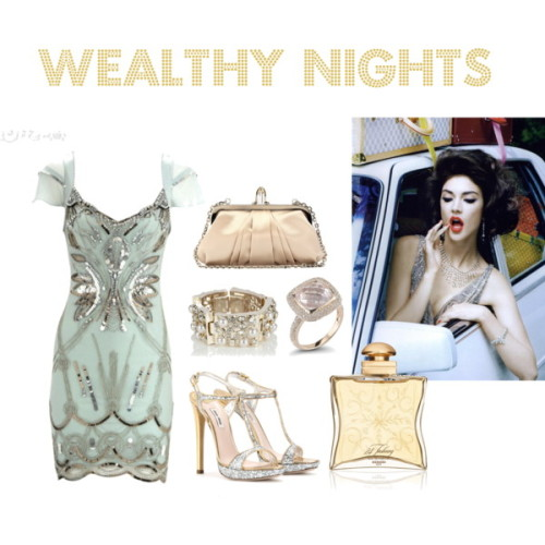 Wealthy Nights by deborahnovak featuring a cuff bangleMiu Miu high heels, $695Christian Louboutin satin clutch, $895Cuff bangle, £40Dana Rebecca Designs diamond ring24, Faubourg, $165