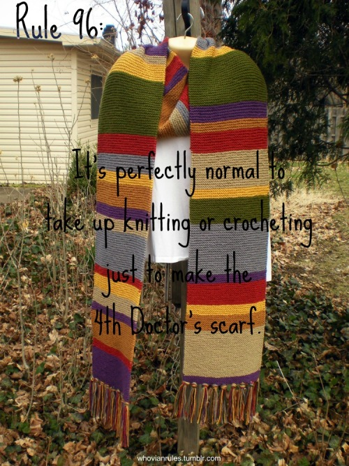 Rule 96: It's perfectly normal to take up knitting or crocheting just to make the 4th Doctor's scarf. Submission! [Image found at this Etsy Shop. Yes, it is for sale.]