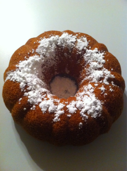 I made this little treat last night! Its a Vegan Pineapple-Coconut Bundt Cake with Powdered Sugar! Delicious!