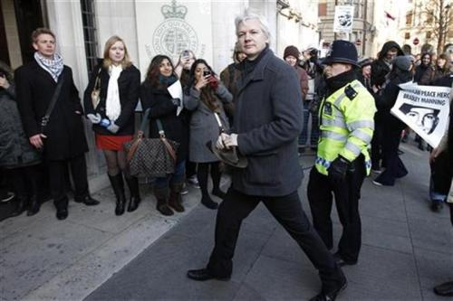 reuters:  WikiLeaks founder Julian Assange arrives at the Supreme Court in London February 1, 2012. Assange was detained in Britain in December 2010 on a European arrest warrant issued by a Swedish prosecutor after two female former WikiLeaks volunteers accused him of sexual assault. [REUTERS/Stefan Wermuth] Read more: Julian Assange appeals extradition to UK's top court  In case you'd like to follow along at home, ABC (Australia) has live video from the event.