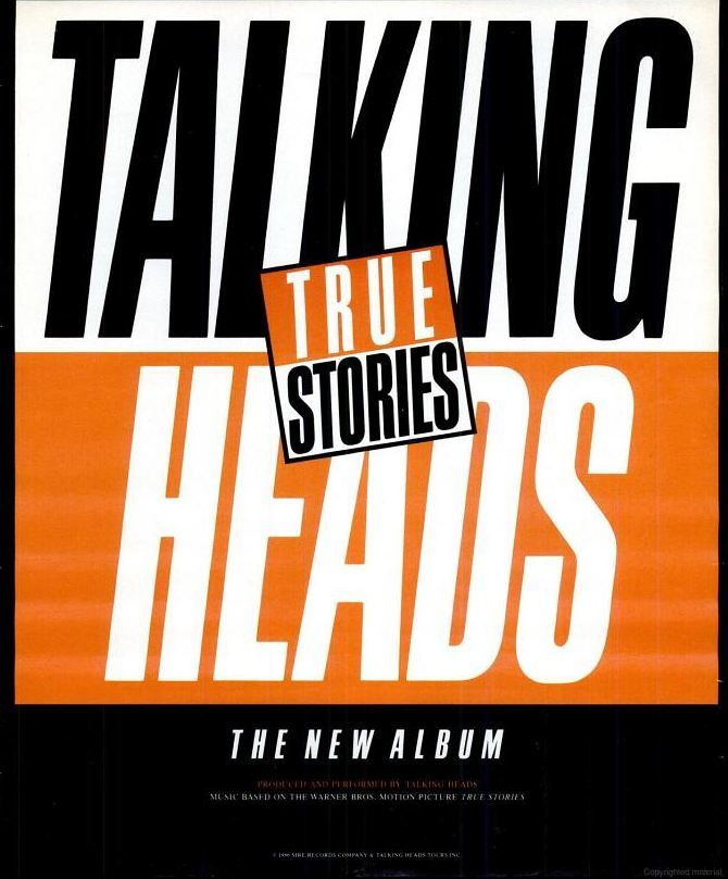 Ad for Talking Heads' 'True Stories' in the October 1986 issue of Spin magazine.