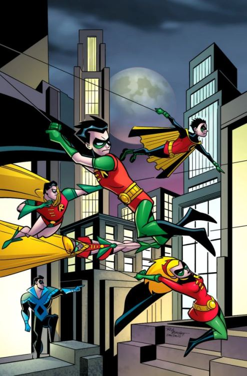 thefandomzone:  Five Robins and a Nightwing by Rick Burchett