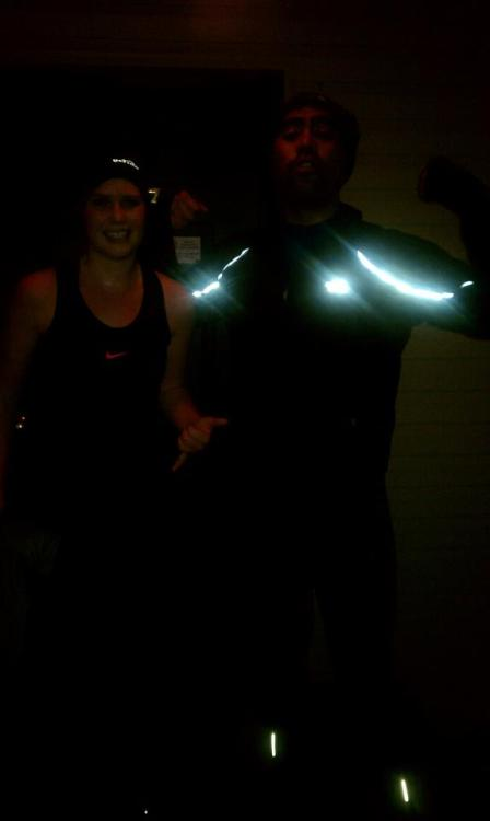 Kaelin and I after our rainy, Sunday run =] I was totally drenched so i took off my useless rain jacket.