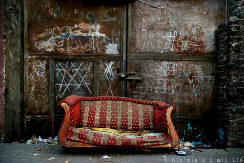 urban abstraction on Flickr.Sofa/trash in Cairo, December 2008.