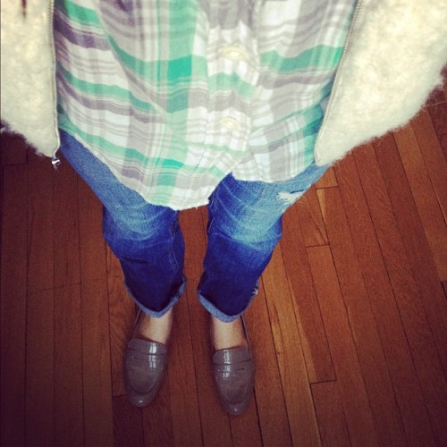 Today's look. Gap boyfriend jeans, Gap plaid shirt, and Gap Sherpa vest. Sam Edelman loafers.