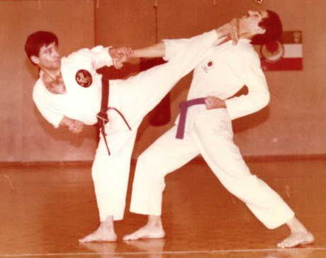 Hanshi M.A. Sharifi demonstrating yoko-geri-kekomi. Undated photo taken in Iran. www.shotokan.com