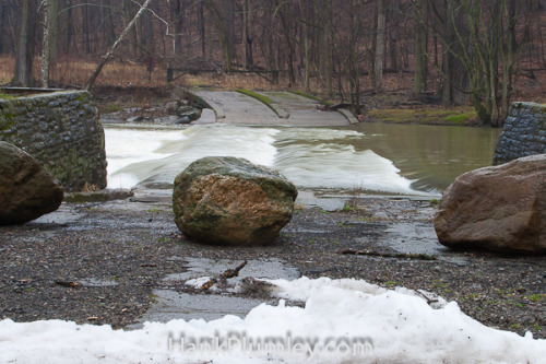 Blocking the Way on Flickr.Boulders stand in front of an old fjord in the Cleveland Metro Parks. January 2012.