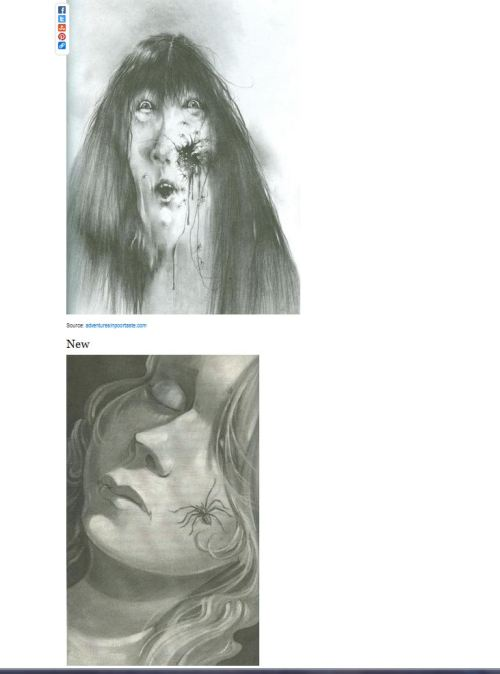 "newageamazon:  kristinross:  flavorpill:  How ""Scary Stories To Tell In The Dark"" is being ruined (via Buzzfeed)    NOOOOOO Hey media, stop pillaging my childhood. The new illustration is very pretty. And that's the problem.  Growing up with these books, half the point was that the illustrations were more likely to give you nightmares than the stories themselves.  Look at the example above: I'm sorry, but if kids aren't getting an image of an open flesh wound with spiders crawling out of it, how are they going to survive in our modern world?  STAY AWAY FROM MY CHILDHOOD."