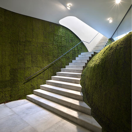 Green interior design - Grass  padded staircase wall.