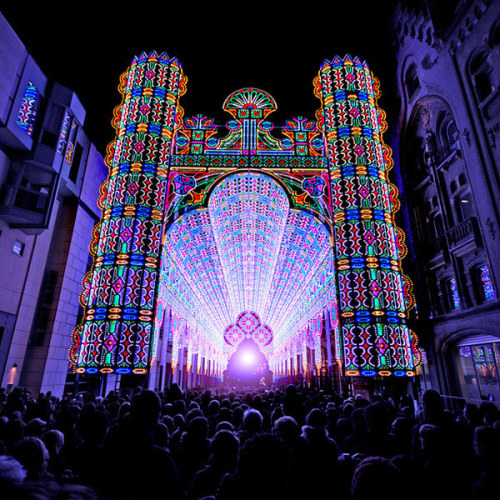 Cathedral Art Installation Made from 55,000 LED Lights in Belgium.