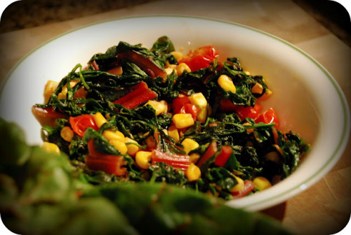 Swiss Chard & Arugula Sauté What you'll need… 1 tbsp light olive oil 1 cup Swiss chard, chopped 1 cup arugula (roquette), chopped 1/2 cup corn kernels, reserving 4 tbsp liquid from can 1/2 cup sliced cherry tomatoes 1 tsp cumin powder 1/4 tsp cayenne/chilli powder 1/2 tsp sea salt Directions, tips & more pics via my buddy Allison @ The Bacon Eating Jewish Vegetarian!