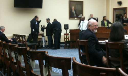 A picture of Josh Fox being arrested at a Congressional hearing on fracking. [desmog]  At approximately 10:30 a.m. today, United States Capitol Police arrested Joshua Fox of Milanville, Pa. in room 2318 of the Rayburn House office building. He is charged with unlawful entry, and he is currently being processed at United States Capitol Police headquarters.