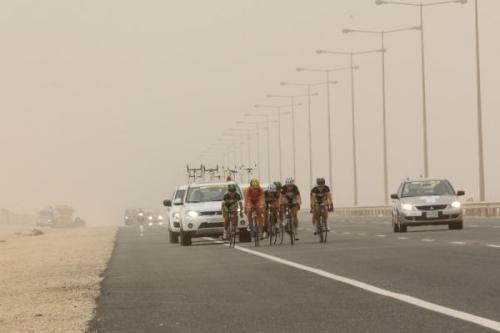 womenscycling:  Ladies Tour Of Qatar 2012 - Stage 1: The Leaders Approach The Final 20 Kilometres, In The Gloom Of The Sandstorm And Fighting Into A Huge Headwind, Photos | Cyclingnews.com More photos from Stage 1 on Cyclingnews  Other Tours should follow the ToQ's admirable lead and provide elite women with the opportunity to race.