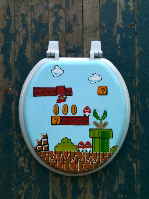 it8bit:  Mario Hand Painted Toilet Seat Cover - by Debbie is Adopted Available for $70 USD at Etsy.
