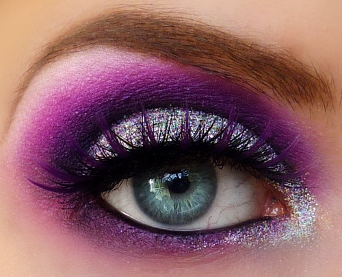What better way to add dazzle to your dramatic eye look than with glitter? Here Beautylish Beauty Meredith J. rocks the sparkle along with her purple lashes!