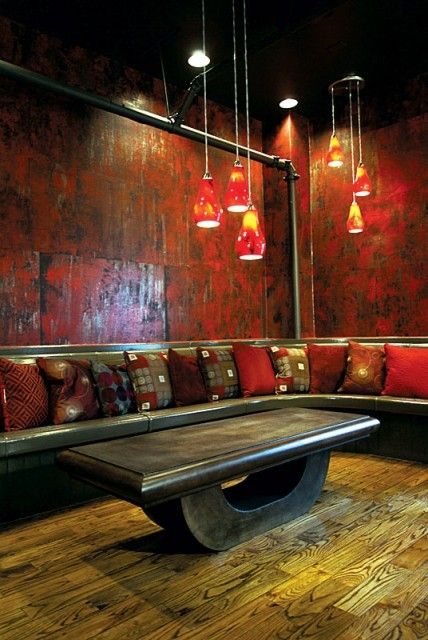 Custom-made wall coverings in a stylish modern media room (via  Vahallan Papers)