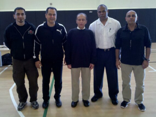 Senpai's and Sensei's. From left to right: Sayid, Davood, Hanshi M.A. Sharifi, Kyoshi Llewellyn, and Mehran. Kyoshi Llewellyn runs the Shotokan Karate Academy in Benicia, California. SKA website: www.shotokankarate.net 2011 Pacific West Traditional Karate Tournament, San Rafael, CA.