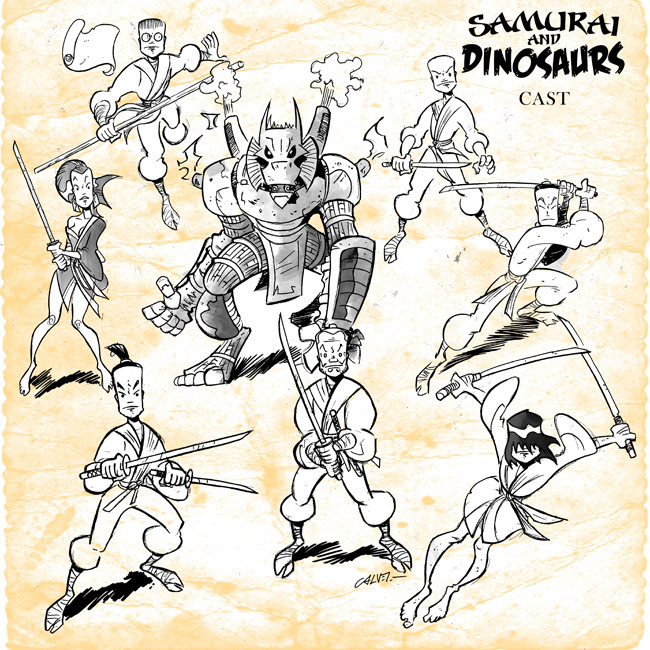 randomasis:  Chibi Comics presents Samurai and Dinosaurs by Michael Murphy and Sergio Calvet available big, digest and digitally.  ymbastards:  Samurai and Dinosaurs cast montage.By Sergio Calvet.