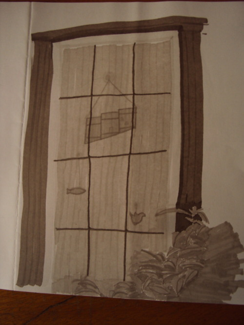 window in grey markers