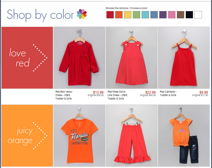 "Have you ""spun"" the zulily color wheel yet? Members are loving our new Shop by Color feature! Is your little one obsessed with orange, pretty in pink, or growing into green? Shopping just got a lot easier!"