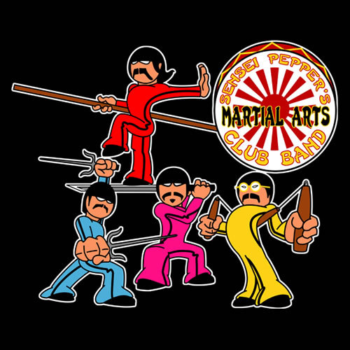 """Sensei Pepper's Martial Arts Club Band - Attack Mode"" by jayveezed. Bruce Lee. Jackie Chan. Jet Li. Teenage Mutant Ninja Turtles. They've got nothing on Sensei Pepper's Martial Arts Club Band. While many know of the Beatles phase of experimenting with mind-altering drugs, Indian philosophy and meditation, few know of their martial arts phase. Their sensei at the time - Sensei Pepper - recalls in his inappropriately titled 1972 biography Within You, Without You: Lovely Rita, She's Leaving Home: ""It was just another Day in My Life when I first saw [the Beatles].I was Fixing a Hole in the dojo when they approached. After exchanging pleasantries - Good Morning, Good Morning - and some smalltalk, I immediately knew that within a year - When I'm Sixty-Four - and With a Little Help From My Friends, I could transform them into a formidable fighting machine."" Sgt Pepper's Lonely Hearts Club Band gets ninja-fied. Available from RedBubble."