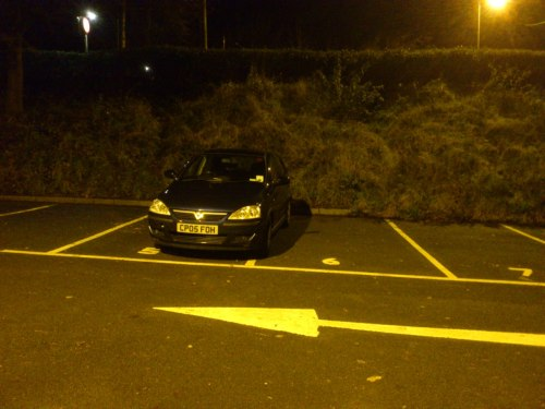 """Yet another empty car park in South Wales, this time in Newport.  I wasn't sure about photographing this car seeing as Newport is often not one of the most friendly places on earth after midnight but what the hell…this c*nt ought to be shamed."" If this cunt couldn't see the space they were trying to 'squeeze' into, I'm sure they wouldn't spot you taking a photo. Snap away is our advice!"