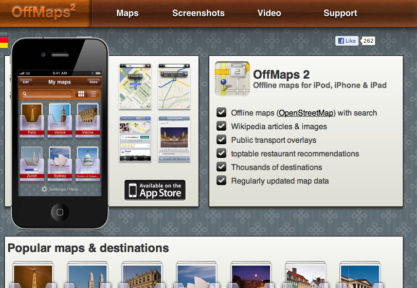 TRAVEL APP | OffMaps Most travel apps are lacking the key component that makes them worthwhile in the first place. International data roaming is brutally expensive. What's the point of having all these amazing travel apps if it costs too much to actually use them while you're abroad. OffMaps has brilliantly bypassed this problem by offering their entire catalogue offline. So, if you need to find a hip bar, cheap hotel or awesome design house while in Helsinki, you don't need to find a hotspot or pay $20 in roaming to do it. Not only does OffMaps provide you local maps, it gives you the Wikipedia profile for your city, public transit info, and even restaurant reviews. Even with an international data plan while I was in Mexico last month, I still spent an extra $80 on my phone bill. And the majority of that roaming was spent on trying to use apps and the internet to find hip places to check out while I was either hungrily or drunkenly stumbling along the cobblestones of Old Town Puerto Vallarta. I only wish I had been using this app then. Get it here.