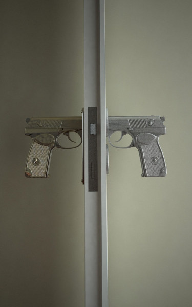 "thedailywhat:  Handle With Care of the Day: The ""Bang Bang"" door handle by Russian designer Nikita Kovalev is modeled after the 9mm Makarov semi-automatic pistol — the standard issue sidearm of Soviet-era armed forces and law enforcement officials. [freshome / behance.]"