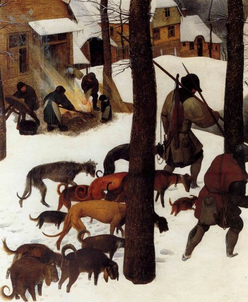 "Pieter Bruegel the Elder ""The Hunters in the Snow"" detail"