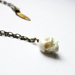 Bone Skull Necklace, 29% offIt is possible to be delicate and dangerous at the same time. Send chills through those around you with this incredibly detailed carved bone skull dangling on a brass chain. People may clamor to discover your mysterious past. Don't say we didn't warn you.