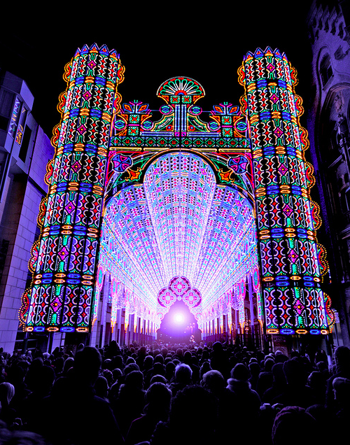 szymon:  Cathedral made from 55,000 LED lights by Luminarie De Cagna Photo by Stijn Coppens