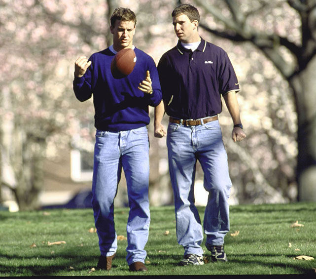 Eli and Peyton Manning stroll the campus of Ole Miss in this 2001 photo. The brothers have been the center of attention this week. While Eli prepares for Sunday's Super Bowl, many are questioning if Peyton's career is over and if not, where he'll play next season. (Bill Frakes/SI) BYRNE: This Super Bowl could be the most prolific air show everBANKS: Peyton Manning still the talk of Indy as reality sets inGALLERY: Rare Photos of the Manning Family