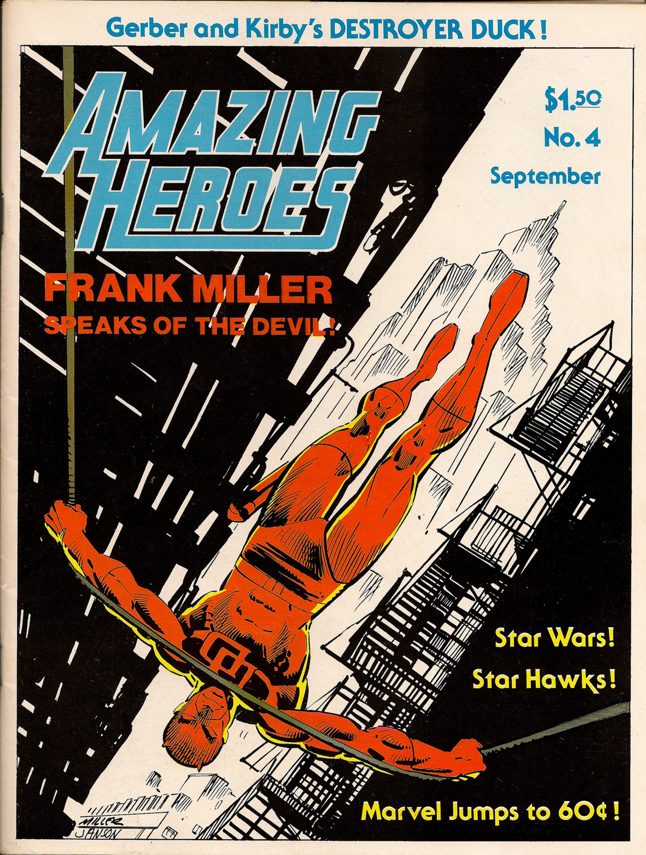 brianmichaelbendis:   Frank Miller cover to Amazing Heroes magazine, #4, September 1981.