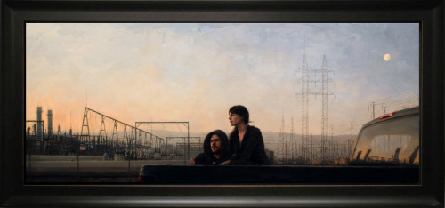 "Julio Reyes, ""Holding On,"" Oil on Linen, 20"" x 50"""