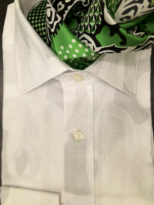 Can you see the subtle organic pattern on this Etro white shirt?  It's in the details.