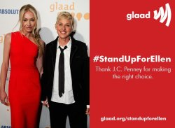 thetrevorproject:  Please reblog this if you stand with Ellen! Support Ellen and thank J.C. Penny for standing up to the hate group that wants Ellen fired for being gay: glaad.org/standupforellen UPDATE: J.C. Penney stands with Ellen & won't fire her after nearly 25,000 speak out! Thanks for your support!