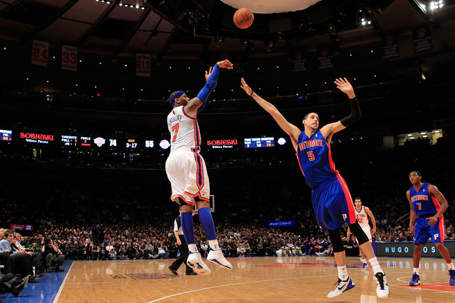 "There's something unfair about the way Carmelo Anthony is able to shoot a basketball. Not that he hasn't honed his game on the playgrounds of Baltimore, Boeheim practices at the Carrier Dome or mile high air in Denver's Pepsi Center, but the ease with which he releases the ball with the perfect amount of spin and arm alignment is almost biological in its simplicity. It doesn't get much better than 'Melo when he has the ball in his hands. But then he flashes that smirk that makes Dubya's aw-shucks countenance of yesteryear seem grown up, and you remember that Carmelo has been sitting on his talent his whole life. God possessed him with the size, strength and coordination to be the best offensive player in the NBA (almost everyone agrees with this assessment), but no titles and another losing trend in Knick land. What gives? Is he too talented? Does the game come too easily to him? Why does he always seem to be having a good time, and as a fan, you're halfway convinced he's bored with his excellence; like a child that acts out in class because the math problem and reading assignment have been mastered already, Carmelo hasn't even struggled to play the game of basketball, and so he takes the easy way out: the jumper rather than the drive; the rushed shot, rather than sharing the ball; the me before the team.  Sometimes Carmelo will get whistled for a reaching foul near the end of a game, or miss some big free throws down the stretch, and he'll flash that smirk and chuckle to himself. Like he's fooled us all, but what has he tricked us into believing? The levity with which he treats the game is aspirational for any fan, but NOT for an NBA player. At the end of the day, it is just a game, but the comedy of the whole Knicks imbroglio this season shouldn't be amusing to Melo. He should be cast into the furnace of New York critcism after the Knicks woeful start this season, since it was the trade that brought him to New York which shredded the team aside from Melo, Amare and now Chandler. But the other two men in that equation aren't Carmelo Anthony, and we all know this. Carmelo's the talented one here in New York; the one who does (and should!) command the most offensive reps; the one who can make a solid all-star like Amar'e Stoudemire, look like a spastic big man still raw from high school (even though Amar'e has improved his game significantly enough that he can shoot 3-pointers at a high percentage; when he came into the league he could only dunk it). Amar'e is an incredibly gifted NBA basketball player, but when you line him up against Melo's aloof, offensive genius, Stoudemire still comes out behind. There aren't many people that are good enough to get the ball over Amar'e Stoudemire, but Melo is one of them. In fact, i'd hazard to guess most GM's would take Melo for their final shot over LeBron and Wade (not Kobe though, who has convinced all the league underlings, except Henry Abbott, he's impossible to stop in crunch time). Melo's mellow oeuvre, merely serves to highlight how sick his offensive game has become. There are literally no weak spots. Nothing you can take advantage of except his own love for his brilliance. Like the still drunken athlete at homecoming puking in the bathroom, laughing, then going out and winning the big game. Carmelo's excellence is almost too natural, so he laughs when he's playing. He's the underachieving, scoring savant too busy staying relaxed to bother with the wins or losses. It's confounding to root for him because you're pretty sure he doesn't give a fuck whether you root or not. He's the Knicks best hope at a title, but also emotionally above the fray while simultaneously the fray in the Knicks team itself.  How do you coach or play with someone whose brilliance becomes more exasperating once you realize what it's failing to accomplish. A player who can extemporaneously overshadow the games of the hardest workers in the NBA, doesn't seem to get it. What ""it"" is exactly is hard to pinpoint, but Knicks fans know he hasn't gotten it yet. Maybe it's a generational thing, but that's for another sleepy with hash night."