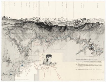 "The map-based art of Matthew J. Rangel: In ""a transect – Due East"" Rangel uses the foothills of the Sierra Nevada Mountains, rising from California's San Joaquin Valley, to explore ""the ways in which human constructs of land influence our experience of place."" Between 2006 and 2008, Rangel walked a combined 200 miles, documenting the landscapes he encountered by fusing his vision of nature, sublime in the tradition of Romantic landscape painting, with the bureaucratic and commercial boundaries that delineate and define today's idea of wilderness. Layering his drawings and field notes on top of photographs and government-commissioned maps, the series forces viewers to consider the complex implications of human limits and expectations being imposed on the majesty and uncontrollable force of nature, as seen in jagged mountain peaks and tumbled boulders.   Accurate Maps vs. Useful Maps — Imprint-The Online Community for Graphic Designers"