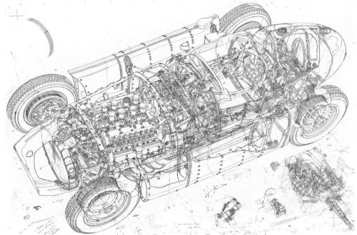 cutaways:  Lancia D50  Originally designed in 1954, the Lancia family fell on hard times and had to sell-off the Scuderia Lancia, with the car being purchased by Ferrari. Fangio would win the 1956 Driver's Championship with it, rebadged as the Ferrari D50.