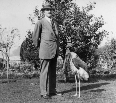 historical-nonfiction:  That stiff man with the stork is actually one of the most revered British generals from WWI. He was so good he got a Viscountcy. Edmund Allenby, 1st Viscount Allenby, first experienced combat in the Boer War. There, he became completely contemptous of the established command system. This contempt got him banished during WWI to the Middle East. Ironically, this was the making of his career. Allenby quickly gained the respect of the troops of the Egyptian Expeditionary Force by moving his HQ to a position closer to the front and visiting the troops regularly in the frontlines. He reorganized the EEF into an effective Corps system and imposing discipline and professionalism on the whole command.  He also gave financial support to T.E. Lawrence's efforts to unite the Arabs in revolt against their Ottoman overlords. It is even believed that one of his victories was a prelude to the Blitzkrieg that would prove so effective in WWII. All in all, a pretty cool guy.  I read about him when we were studying WWI.