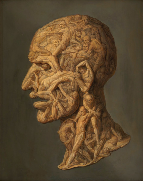 medicalstate:  Head Composed of Writhing Écorché Figures, painted in the manner of Giuseppe Arcimboldo. I will admit, this is maybe a little disturbing, but I am intrigued by this mysterious painting, an abstract take on a pained expression.