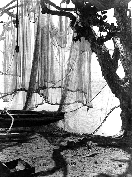 Pirogue and fishing nets on the beach, Tahiti, circa 1930 by G.A. Chalon
