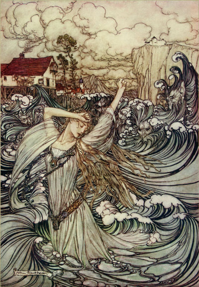 darknightatsea:  cavetocanvas: Arthur Rackham, Undine Lost In The Danube