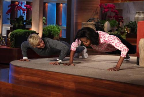 Ellen Degeneres Takes On Michelle Obama In A Pushup Competition Who do you think did more?  (via The Ellen Degeneres Show)